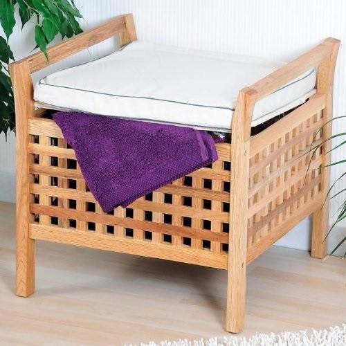 kesper hocker mit sitzkissen aus walnussholz badhocker sitzhocker ebay. Black Bedroom Furniture Sets. Home Design Ideas