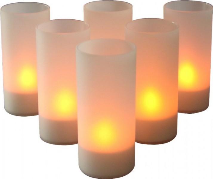 ioio led teelicht im glas 6er set mit ladestation dekolicht kerzenhalter kerze. Black Bedroom Furniture Sets. Home Design Ideas