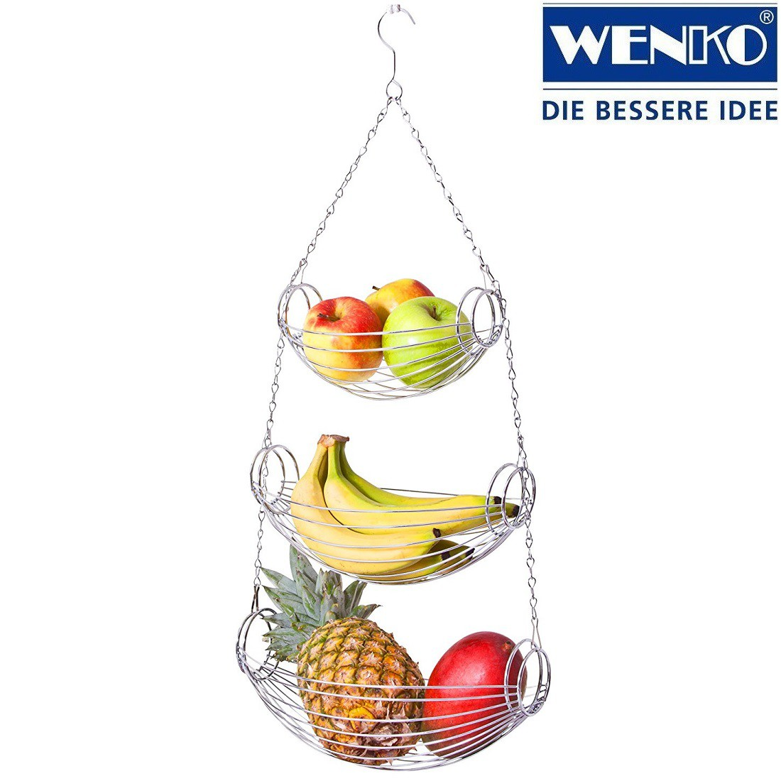 WENKO Triago Hänge-Ampel Gemüse-Etagere Obst-Korb 3 Etagen Hänge ...